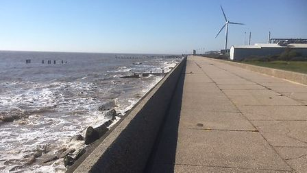 Early morning scene near Ness Point in Lowestoft - the most easterly point in Britain - not a cloud