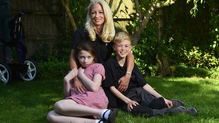Annabel Hughes pictured with her son Henry and daughter Rebekah. Picture : ANTONY KELLY