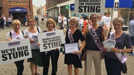 Members of the group Pension Action In Norfolk in King's Lynn High Street. Picture: Stuart Anderson