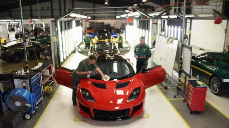 Lotus cars assembly line at the Hethel plant. Picture: DENISE BRADLEY
