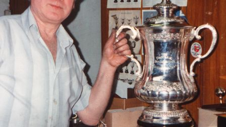 Ernest Parton with the FA Cup he crafted