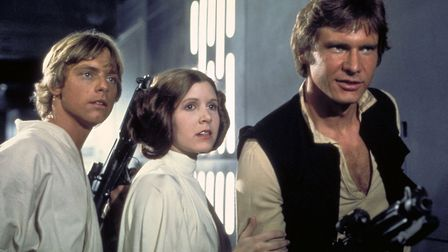 Mark Hamill as Luke Skywalker, Carrie Fisher as Princess Leia and Harrison Ford as Han Solo, appear