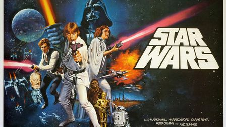 Poster for the 1977 release of Star Wars, the film that sparked fan devotion that continues today an