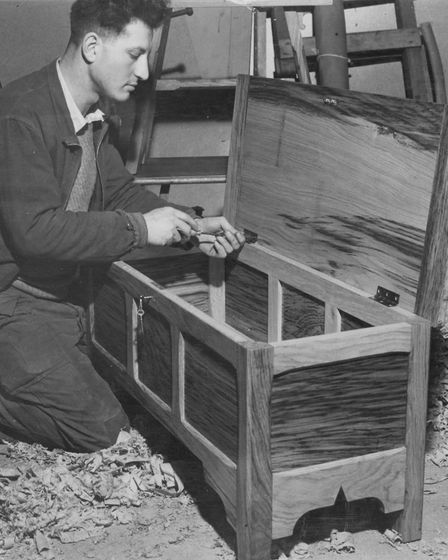 Mr R Saltiel of Wacton, one of the few wood craftsmen in East Anglia making furniture by hand, puts