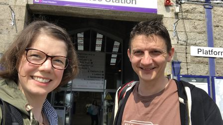 Geoff Marshall and Vicki Pipe outside Penzance Station. Photo: All The Stations/@allthestations