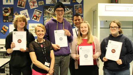 Some of the students who took part celebrate thier awards. Picture: East Norfolk Sixth Form College