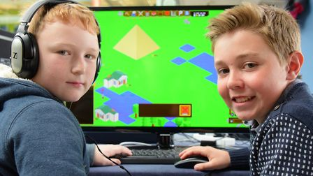 Fraser Tubby and Jacob Conner enjoy The Norwich Gaming Festival 2016 in The Forum. PHOTO BY SIMON FI
