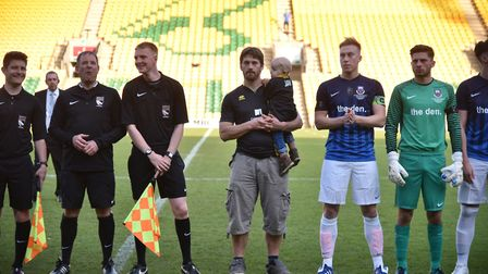 Jay Goodman is mascot for the UEA FC team in the Norfolk Youth Cup final at Carrow Road, he is with