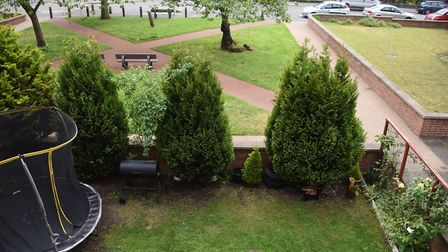 The garden area at the flats in Southwell Road, with the area near the road being communal, and the