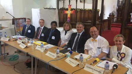 The candidates and moderators at the Belton hustings. Picture: Anthony Carroll