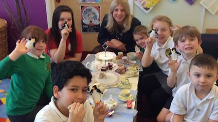 Paula Jones, head of school at Edith Cavell Academy, with school pupils; Picture: Right for Success