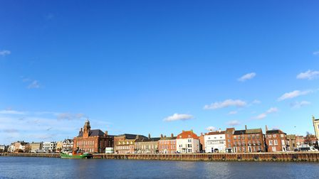 The view across the River Yare towards South Quay in Great Yarmouth.The Lydia Eva boat is moored up
