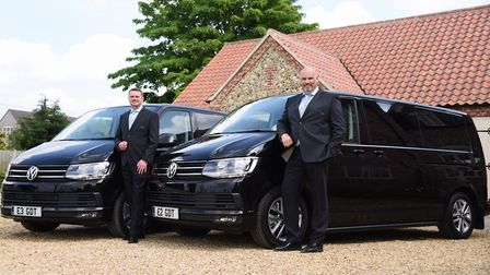 Doug Gordon, left, and Geoff Dunk, directors of G & D Transport Services at Great Ellingham, with th