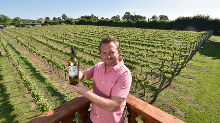 Winbirri Vineyards. Winemaker Lee Dyer with a bottle of their multi award winning Bacchus 2015. Pict