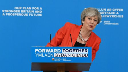 Conservative party leader Theresa May during the Welsh Conservative manifesto launch at Gresford Me