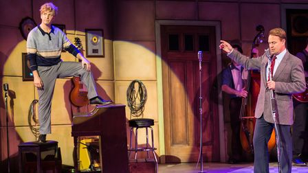 Martin Kaye as Jerry Lee Lewis and Jason Donovan as Sam Phillips in Million Dollar Quartet. Picture:
