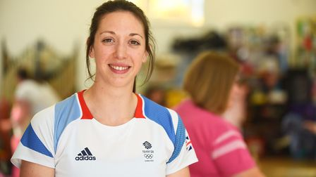 Olympian Amy Smith working with pupils at Scarning Primary School. Picture: Ian Burt