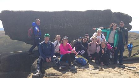 The team training for the Three Peaks challenge at Kinder Scout plateau. Picture: Paul Wheeler