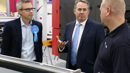 Liam Fox, Secretary of State for International Trade, and James Wild, Conservative candidate for Nor