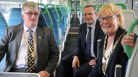 From left, Simon Bower, mayor's consort; Keith Jipps, passenger service director with Thameslink Gov
