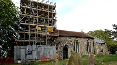 The church at Barnham Broom, when it had its tower repaired. Photo: Denise Bradley