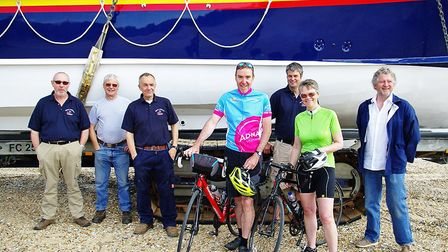 Jon and Claire Davies at Wells Lifeboat with crew members (left to right) Greg Hewitt, Phil Eaglen,