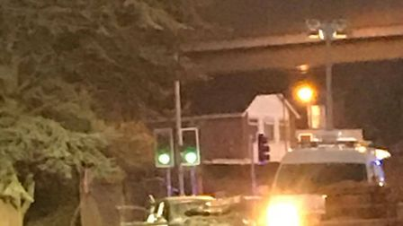 The scene of the two vehicle crash in Beccles Road, Gorleston, near the A47 flyover. Photo: ST
