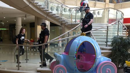 Armed police were seen in the Castle Mall shopping centre in Norwich. Picture submitted.