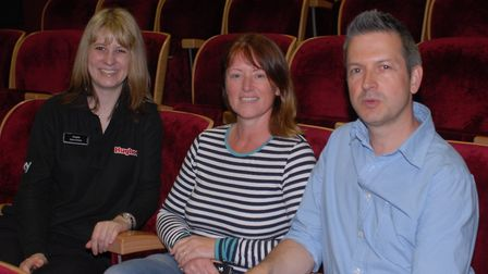 The show must go on. Richard & Paula Crossley together with Angela Hudson in the Atrium cinema. Pic