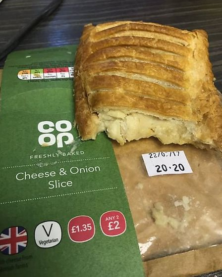 Cheese and onion pasty bought from Norwich station... or so he thought. Picture: Jessica Hesketh