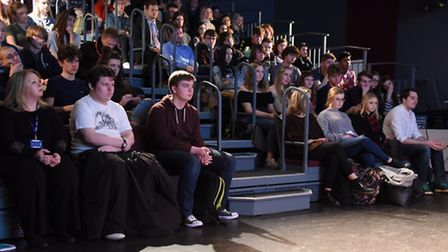Students watch the political debate during the Paston Sixth Form College Question Time. Picture: DEN