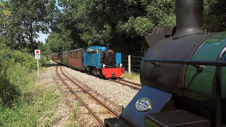 Trains pass at Brampton on the Bure Valley Railway which is hosting its Everything Goes event. Pictu