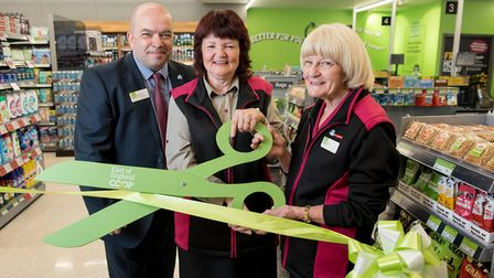 The new East of England Co-op supermarket on Norwich Road, Acle. Julie Cater, Pat Carver and Store