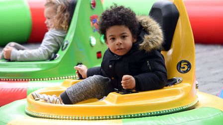 Milo Kabuiku, four, on the bumper cars at the May day event at Heigham Park. PICTURE: Denise Bradle