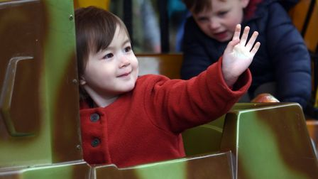 Laura Watson, two, emjoying a ride in a tank at the May day event at Heigham Park. PICTURE: Denise