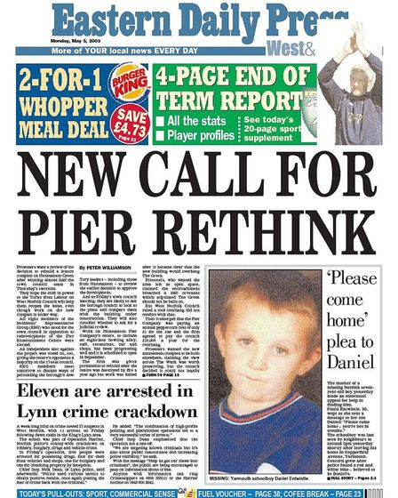 The front of the EDP after the bank holiday Monday after Daniel's disappearance on Saturday. Photo: