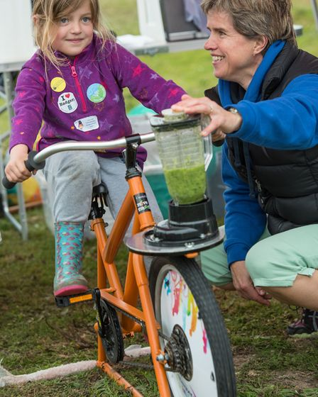 The Wild about the Wensum family event at Pensthorpe Natural Park. Making a smoothie on with pedal p