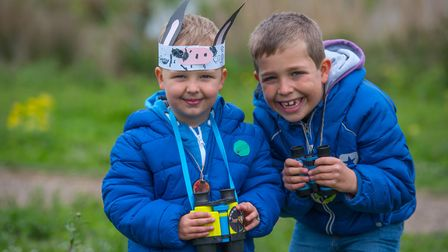The Wild about the Wensum family event at Pensthorpe Natural Park. Brothers Ellis and Jake Betts. Ph