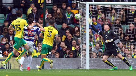 In his last ever match for the club John Ruddy of Norwich makes a great save from a shot by Pawel Ws