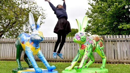 Launch of the new GoGoHares at White Woman Lane School, Old Catton, Norwich. Monique Oulare is jumpi