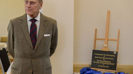 The Duke of Edinburgh officially opens the new Memorial Pavilion at South Creake. Picture: Matthew U