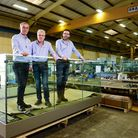 Warren Services' new managing director Clive Poyner, outgoing chairman Richard Bridgman and incoming