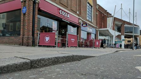 The kerb where a man tripped over in Regent Road, Great Yarmouth. Photo: George Ryan