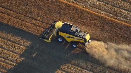 Combine harvester at work in Norfolk. Picture: Mike Page
