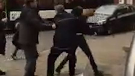 Stills from a video of a fight in Norwich between a bus driver and a young man. Original footage by