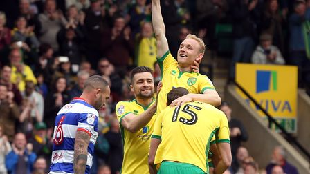 Alex Pritchard of Norwich celebrates scoring his side's second goal during the Sky Bet Championship