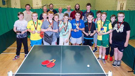 Dereham's table tennis league wrapped up with an awards ceremony. Picture Paul Baudinet