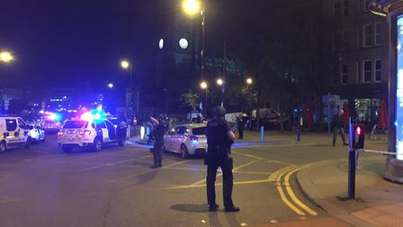 Police in Manchester tonight after an incident at Manchester Arena. Picture: PA
