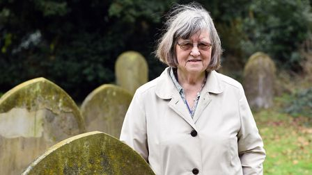 Janet Huckle at Halesworth Cemetery. Picture: JAMES BASS