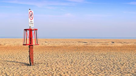 A lonely sign on Gorleston Beach..